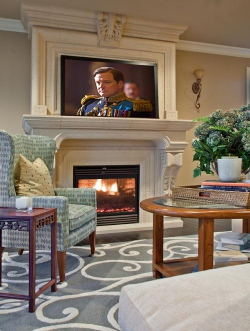 Tv over fireplace for the home living rooms pinterest for Living room ideas with tv above fireplace