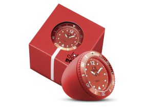 Lolliclock Rock Red. The ultimate desk accessory or gift. 44mm, ABS Polycarbonite case + PC Rock backcover, 1ATM, PC21S movement. Buy online at www.lolliclock.com.au