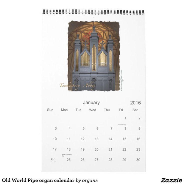 Old World Pipe organ calendar