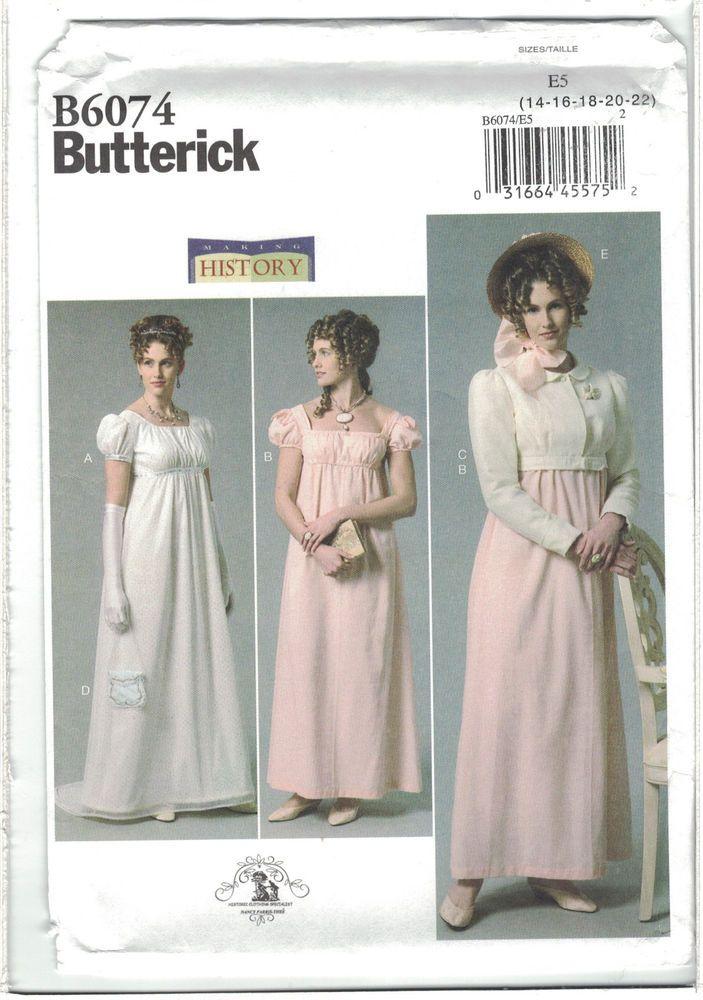 a4deb94fb135 Butterick 6074 Historical Regency Empire Waist Emma Dress Jacket Pattern  14-22 #ButterickmakingHistory #Emma