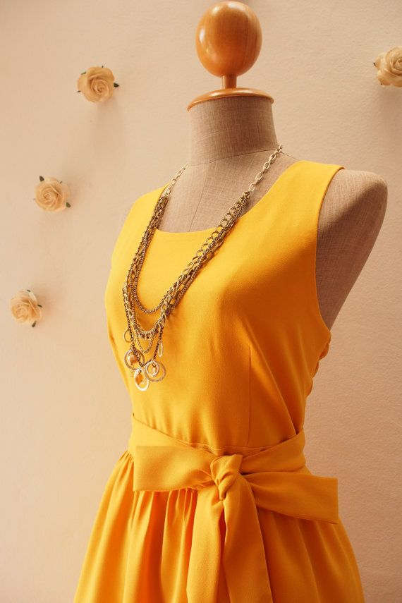 Mustard Yellow Bridesmaid Dress Yellow Party Dress by Amordress