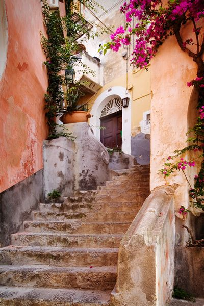 Stairway in Positano, Italy. Look at those colors!!