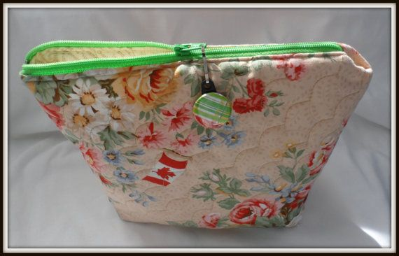 THIS BAG SOLD....................................COSMETIC BAG  QUILTED  Canadian Flag  Floral  by BAGLADYFROMTHEBAY, $25.00