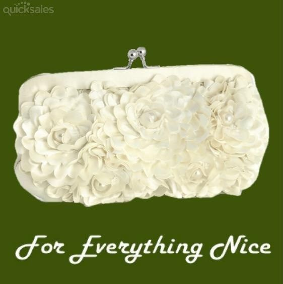 Ivory Silk Floral Cream Pearl Accents Evening Bag Bridal Purse by JRMB7339 - $100.00