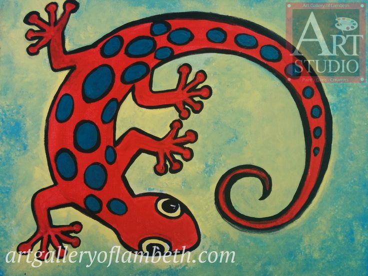 Gecko - one of many paintings London, Ontario Kids can learn to paint at the #AGLArtStudio #ldnont #Kids #Art #Painting #Birthday #Parties Register at http://artgalleryoflambeth.com/new-calendar-events-page/