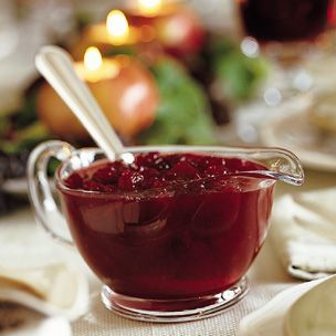 Williams-Sonoma Apple-Orange Cranberry Sauce. This stuff is so good, even the kids all ate it.