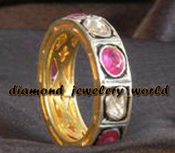 Artdeco Estate 1.01Cts Antique Cut Diamond Silver Ruby Eternity Ring Jewelry #DiamondJeweleryWorld #HandMadeDiamondGemstoneEternityRingBand