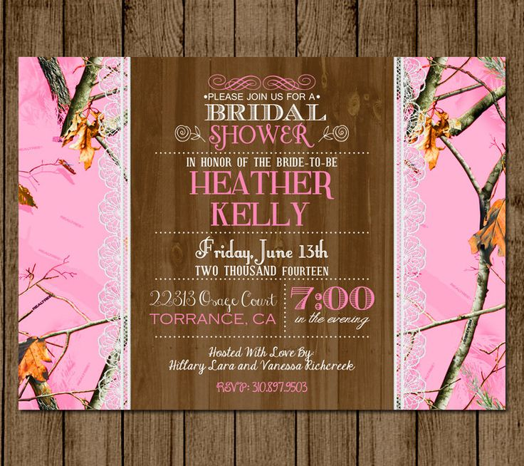 Customized Camo Bridal Shower Invitation Hot Pink Camo Camouflage Couples Shower Bridal Shower Hunting Lace 5x7 Digital File JPEG PDF DIY by andyneal331 on Etsy