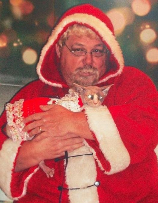 Fat Man With Cat Funny Christmas Photos Awkward Family Christmas Card ideas Pics Pictures Strange Family Holiday