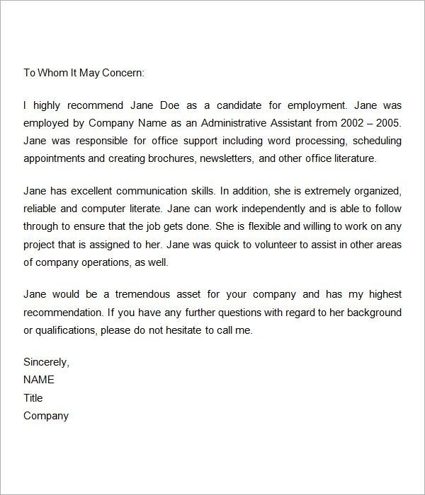 Reference Letter For Employment Sample from i.pinimg.com