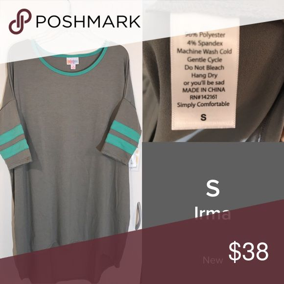 Lularoe small gray Irma NWT baseball stripe sleeve Lularoe irma new with tags. I don't accept returns based on color discrepancies. I do my best to photograph and describe accurately but I'm not a crayola expert. Lol. Thank you. LuLaRoe Tops
