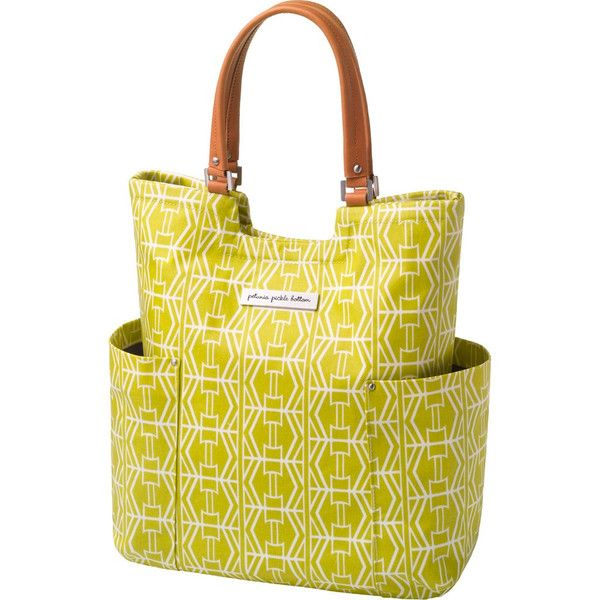 Petunia Pickle Bottom Tailored Tote - Electric Citrus | $199.95 Matte-coated canvas fabric that is water repellent and combines designer touches with unique hand embroidered accents. Honey-coloured vegan leather handles and trim and water resistant lining.