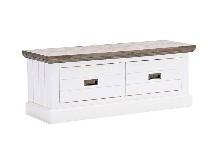 GOMERA Sittbänk 120 Vit/Brunlasyr i gruppen Inomhus / Förvaring / Hallmöbler hos Furniturebox (100-58-91366)