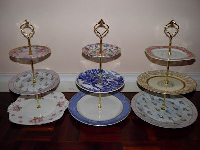 How To Make a 3 Tiered Cake Stand For Less Than $10 - I found cake stand hardware on ebay for cheaper than what the site has (she suggested etsy vendors). I like it mainly because it can be taken apart to save on room.