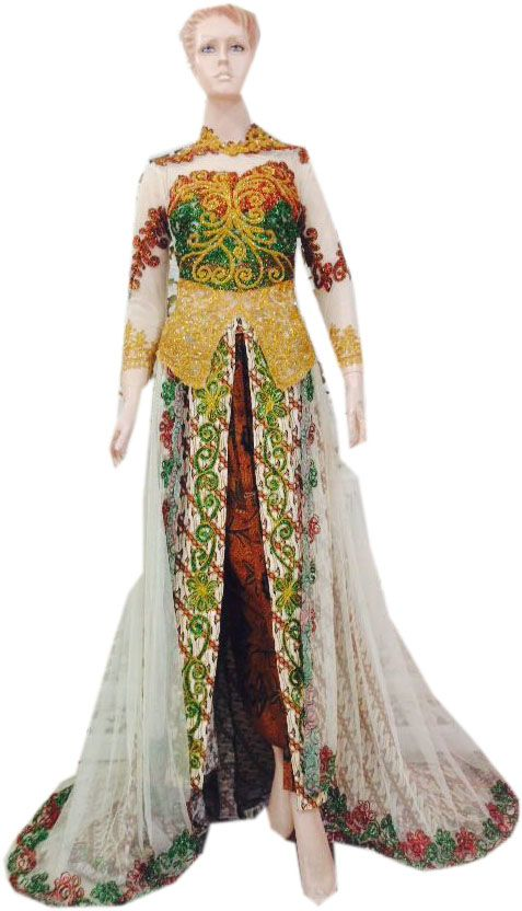 Bahan : Tile polos – batik Payet : Hallon Detail : Rok ekor batik – tille – rok list tumpal depan – ekor lebar – krah shanghai Ukuran : All size Harga : Rp. 950.000,00 Stok : 2