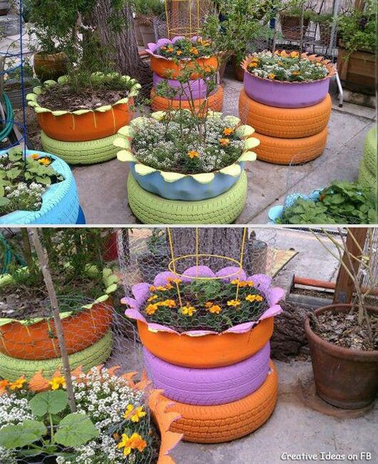 Tyre gardens my pns pinterest gardens tire garden for Uses for old tyres