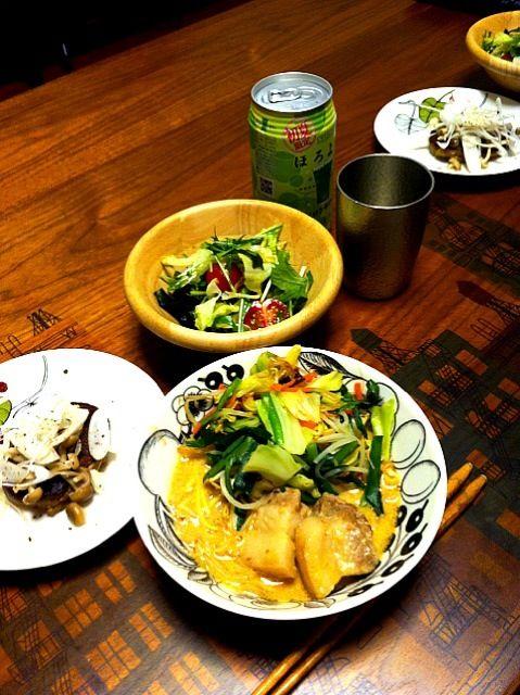 こんにゃく麺ミックスでヘルシー! - 2件のもぐもぐ - ゴマ豆乳ラーメン、中華風サラダ、さんまハンバーグ by chirarhythm