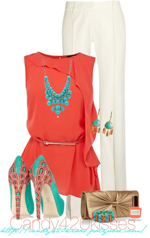 """Turquoise With Your Coral Contest"" by candy420kisses ❤ liked on Polyvore  I would do cropped pants to show off those fabulous shoes!"