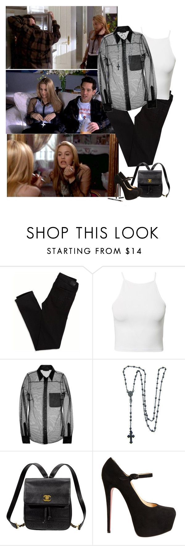 """Clueless Cher black outfit"" by priscilla12 ❤ liked on Polyvore featuring SilverStone, American Eagle Outfitters, Estradeur, Alexander Wang, Eternally Haute, Kate Spade, Christian Louboutin, NYX, movie and Cher"
