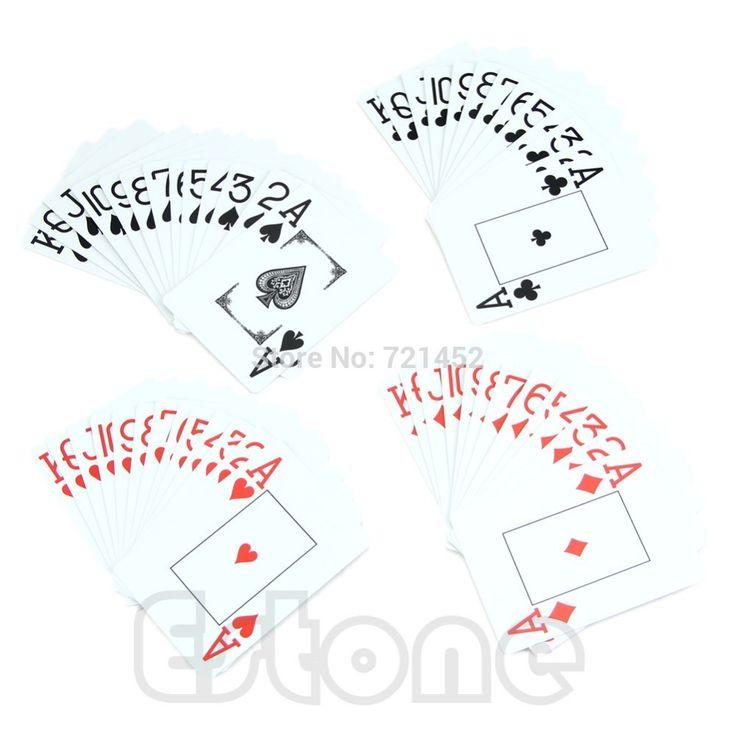 1 * Tahan Air Poker Baru Biru/Merah 100% Ukuran Dicuci Texas Poker Bermain Kartu PLASTIK