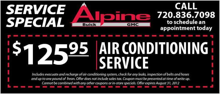Air Conditioning Service $125.95: Alpine Buick, Buick Gmc, Gmc Denver, Service 125 95, Conditioning Service, Air Conditioning