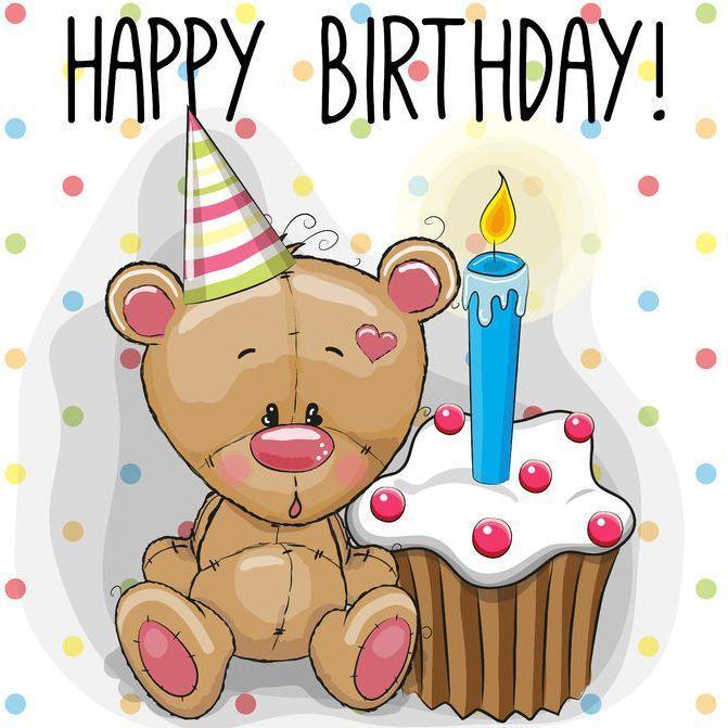 Alles Gute Zum Geburtstag Teddy Mit Muffig Alles Geburtstag