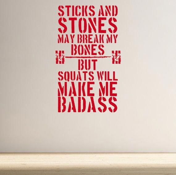 Sticks & Stones Badass Squats. Wall Fitness Decal Quote Gym #SquatExercises
