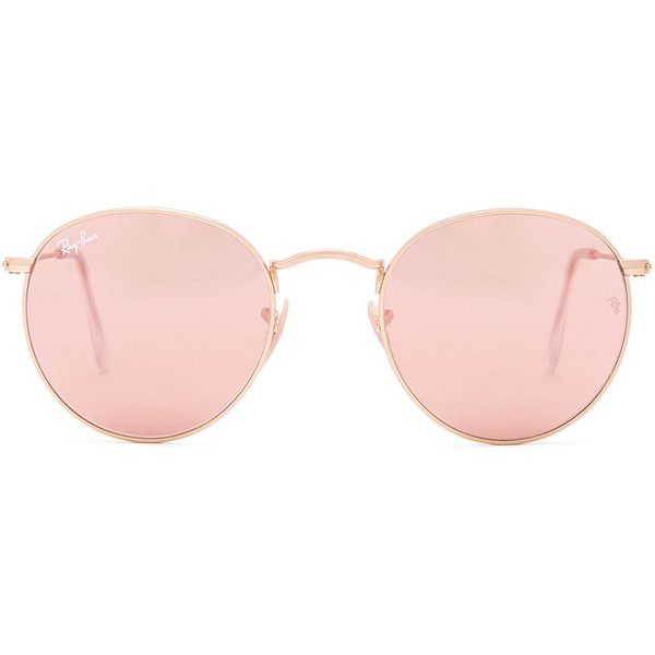 Ray-Ban Round Sunglasses ($180) ❤ liked on Polyvore featuring accessories, eyewear, sunglasses, glasses, metal-frame sunglasses, round lens sunglasses, ray ban sunglasses, round frame sunglasses and lens glasses