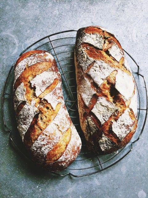 Je vous en ai déjà parlé, je fais quasiment (hormis quelques exceptions) tout notre pain quotidien à la maison. Et uniquement au levain, aucune levure ! Comme on me la demande fréquemment, voici ma nouvelle recette de base (j'avais déjà publié une recette de base de pain au levain, qui donne aussi un bon résultat, mais je suis davantage satisfaite de celle-ci, plus pratique avec nos emplois du temps).  Pain au levain pour deux pains de taille moyenne   500 g de farine de votre choix (si…