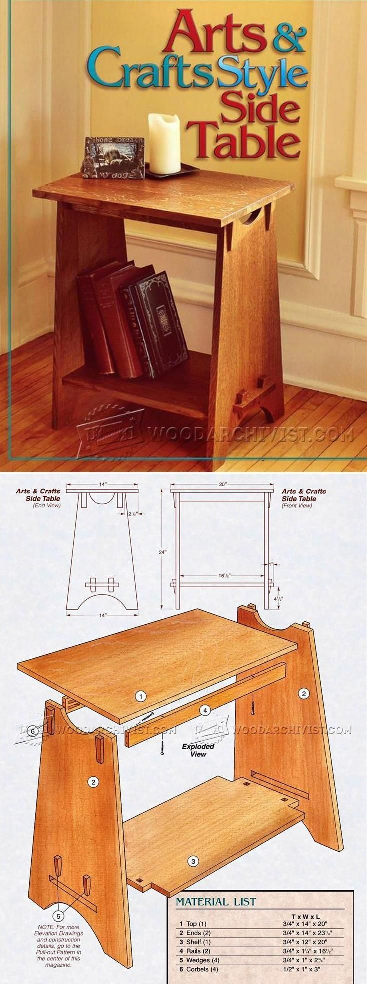 Arts and crafts furniture plans - Art And Crafts Style Side Table Plans Furniture Plans And Projects Woodarchivist Com