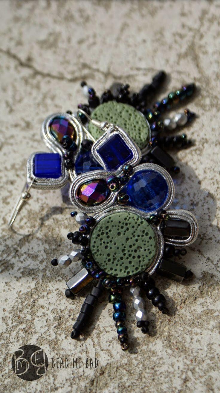 Blue Bettle soutache earrings :)   Visit my blog : http://beadmebad.blogspot.com/2014/08/blue-beetle-soutache.html  silver, sutasz, soutache, rainbow, colorfull