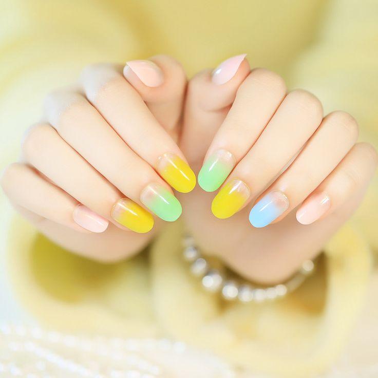 Delightful Danielle - Multi-Color Pastel Gradient Press On Nails.