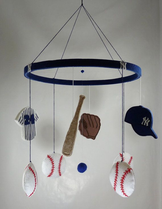 Baseball baby mobile/Sports, game/team Yankees/boy/ uniform, cap, bat, jersey, glove/blue, white, red on Etsy, $76.20