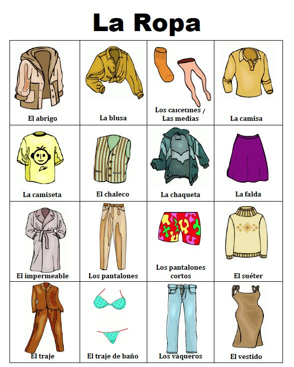 free lesson spanish clothing and accessories picture notes go to the best of teacher. Black Bedroom Furniture Sets. Home Design Ideas