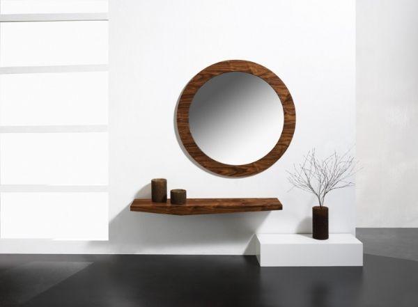 Recibidor con espejo redondo 3 - Mueble entrada blanco y nogal