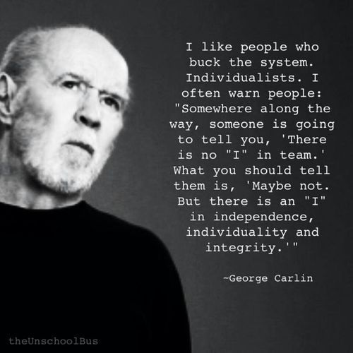 "George Carlin quote on individuality Yup, There is no team in ""I""! I like cross country skiing, touring kayaks, bicycles built for ONE... of course none of these are sports anyway, so teams really are not a problem! (OOOOoooooo......let's see how many people that pisses off before I change it! Oh, golf is not a sport either....I know, I'm going to hell.....)"