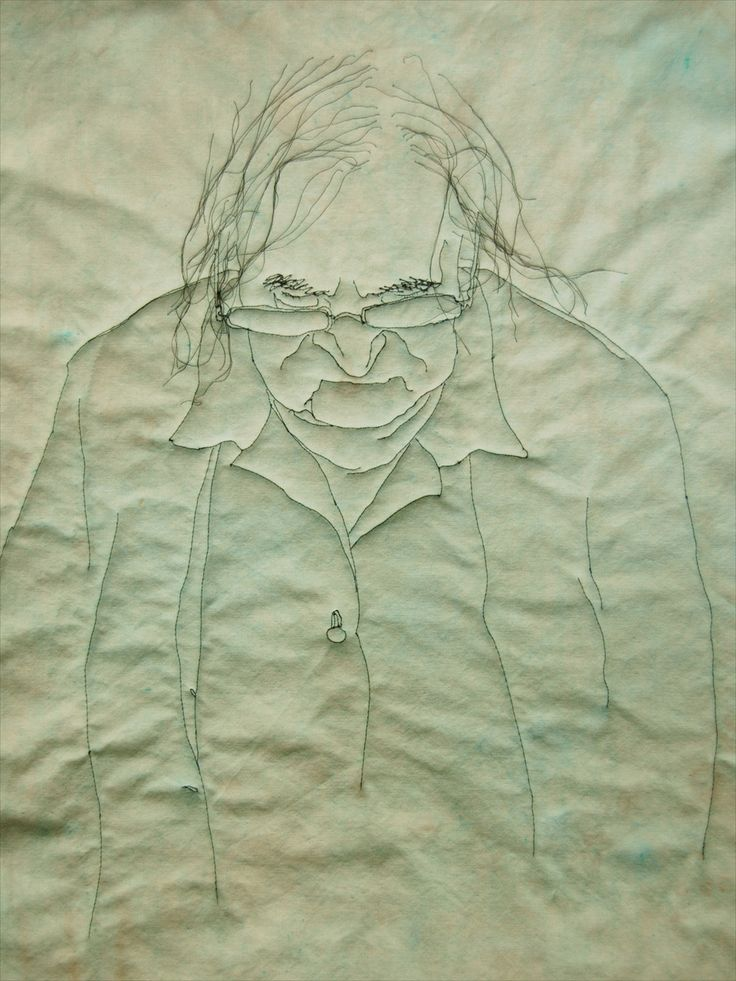 Stitched by Georgie Meadows.   Part of twenty textile artworks which explore personal experiences of ageing and dementia.  Meadows creates delicate pieces whose tangled threads are both a metaphor for the scrambling of neural connections during degenerative illness and a tender and tactile form of portraiture. Meadows' concern with the primacy of visual communication in the act of caring, when logic and speech are often elusive, gives the portraits a meditative empathy.