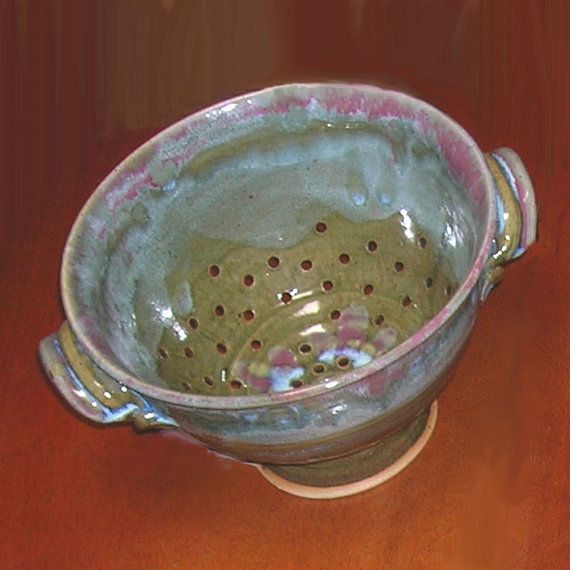 Thrown Stoneware Pottery Colander Spring Meadow by PorcelainJazz on Etsy.