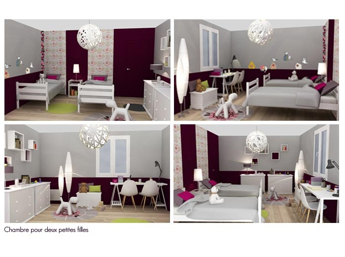 am nagement et d coration d 39 une chambre pour deux petites filles chambre enfant pinterest. Black Bedroom Furniture Sets. Home Design Ideas