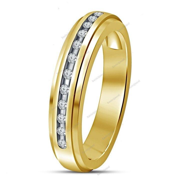 Fashion Stylist Band Ring Simple Beauty 14k Yellow Gold Plated D/VVS1 Diamond…