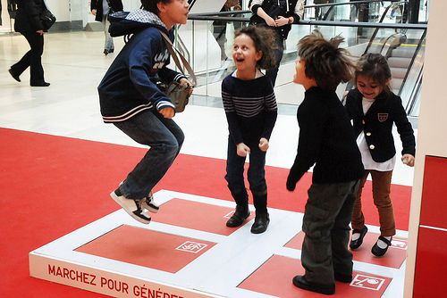 Jump towards a greener future - #Pavegen for @Uniqlo Campaign #renewableenergy #energyfromfootsteps