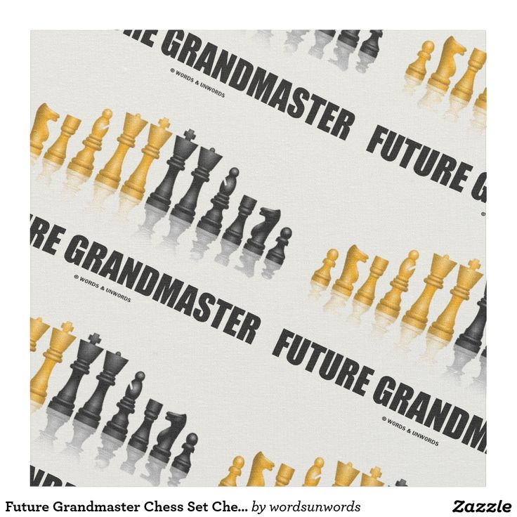 """Future Grandmaster Chess Set Chess Player Saying Fabric #futuregrandmaster #grandmaster #chessset #reflectivechessset #chessplayer #chesssaying #advice #chess #chessteacher #chesspieces #wordsandunwords Make others do a double-take when you create with this fabric featuring a reflective chess set along with the caption """"Future Grandmaster""""."""