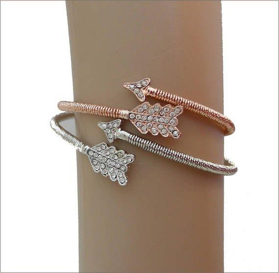 Copper/ silver/crystal woman bracelet wrap 2 bracelets à