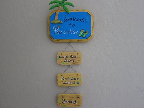 Wood Sign Welcome to paradise by signtime on Etsy, $20.00