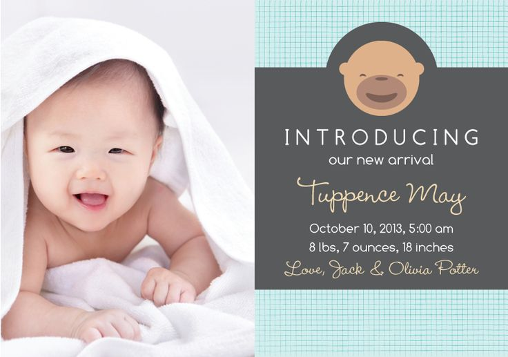 """This is the cutest birth announcement ever! Love how the baby kind of matches the monkey. 