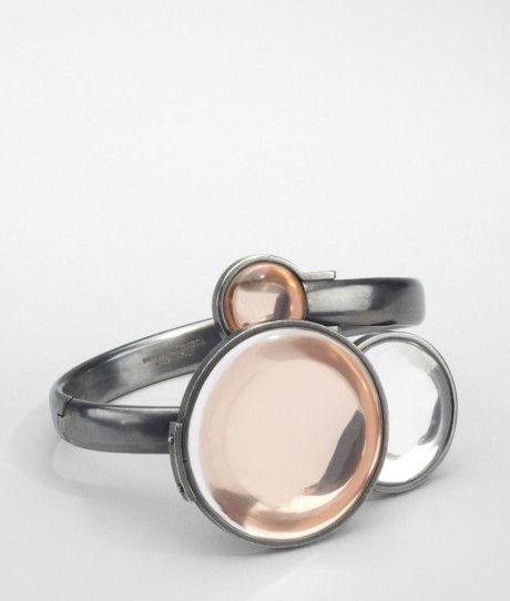 Bottega Veneta Silver Oro Rosa Rock Crystal Burnished Silver Bracelet