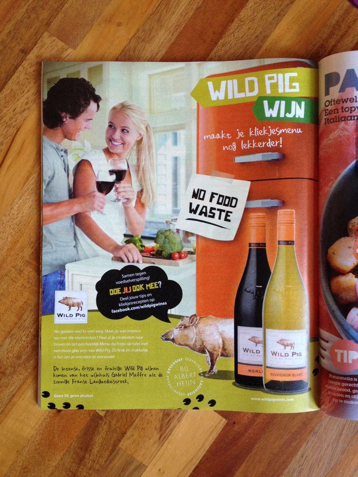 Ook voor Wild Pig heeft Alterego een #nofoodwaste advertentie opgemaakt voor in de Allerhande. #ad #advertentie #wildpig #wildpigwijnen #wijn #marketing #marketingbureau #opmaak #design