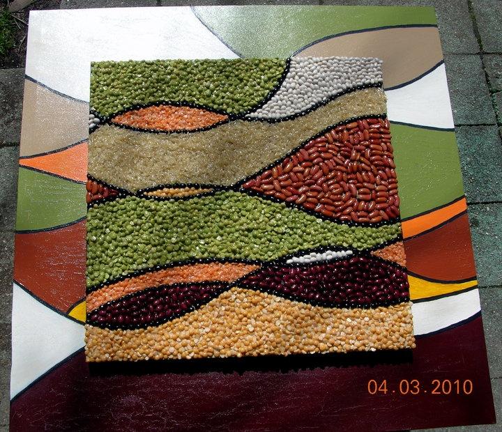 beans, peas, rice, acrylic