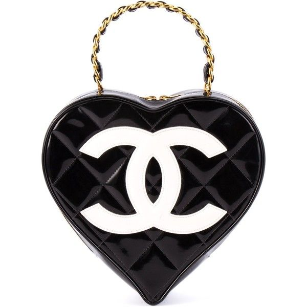 Chanel Vintage logo heart clutch ($7,035) ❤ liked on Polyvore featuring bags, handbags, clutches, chanel, black, chain handbags, patent leather handbags, chain purse, heart purse and vintage clutches