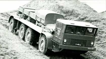 ZiL-135IE diesel-electric truck undergoing tests. The heavy traction motors made this vehicle hard to steer and gave it poor cross-country performance.